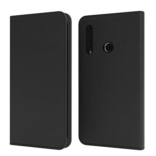 EAZY CASE Tasche kompatibel mit Honor 20 Lite/Huawei P Smart Plus (2019) Vintage Schutzhülle mit Standfunktion Klapphülle, Handyhülle mit Magnetverschluss & Kartenfach, Kunstleder, Schwarz