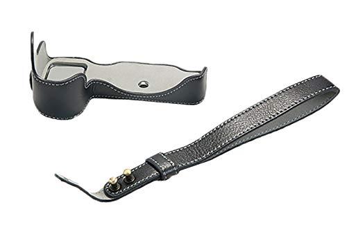 Versione di apertura inferiore per Nikon Z7 Custodia protettiva in vera pelle per fotocamera con cinturino nero