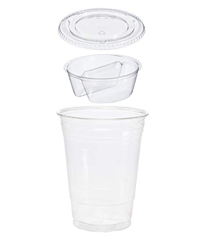 25 count 3-piece 16 oz Take n' Go Parfait/Snack Cup, Includes 2-Compartment Insert and Flat Lid w/Signature Party Picks