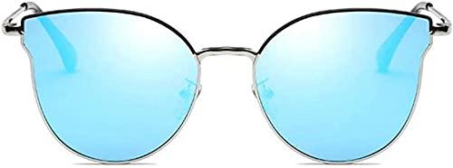Gafas de sol polarizadas de moda casual UV400 con material de metal, color azul/gris, modelos femeninos de tendencia (color: azul)