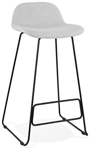 Taburete de bar STEELBLACK en tejido gris claro diseño con patas de metal negro