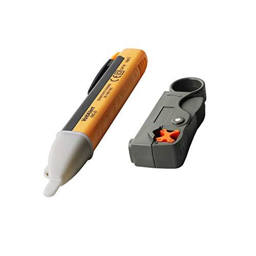 KINYOOO Detector del Voltaje sin Contacto, Comprobador de Voltaje de luz LED, 90 V-1000 V CA + Pelacables para Cable Coaxial RG58 y RG6