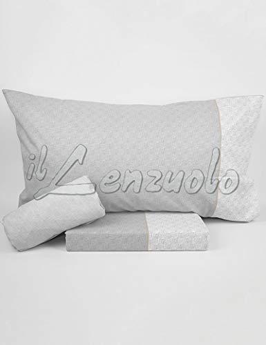 Lenzuola matrimoniali completo Bassetti RUBY in puro cotone variante grigio