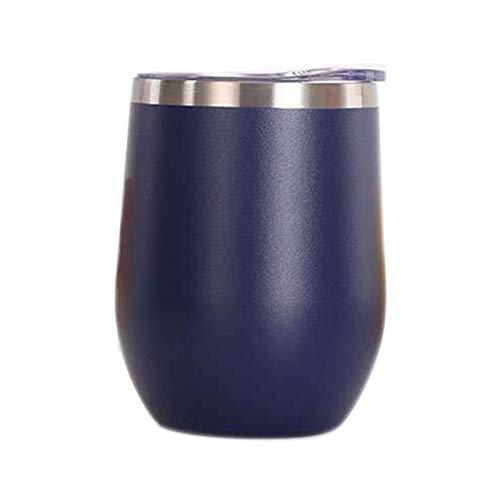 Vaso de Agua de Acero Inoxidable con Tapa, 12 oz Vacío de Doble Pared Vacío Vacipador Copa para café, Vino, cócteles, Helado,Dark Blue