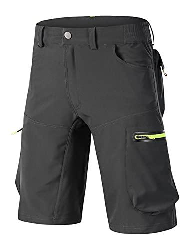 Jueshanzj Los hombres de verano de secado rápido pantalones flojo elástico transpirable al aire libre ciclismo pantalones para hombre de montaña ciclismo pantalones cortos para hombre, gris, 42