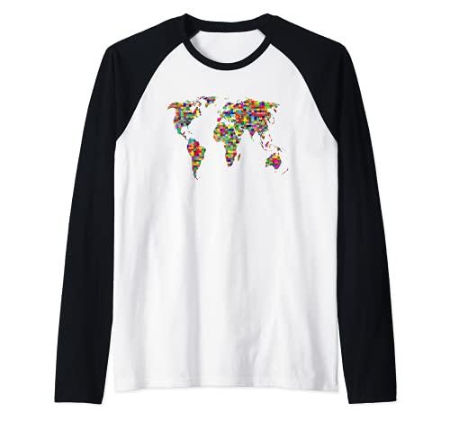 Niños Puzzle Mapa del Mundo Niños Niñas Atlas Global Camiseta Manga Raglan