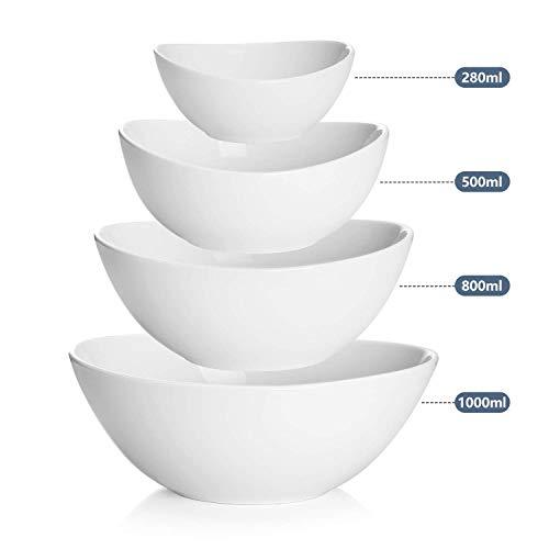 Sweese 105.101 Schüssel 4er Set aus Porzellan, 280 ml, 500 ml, 750 ml und 1000 ml, Verwenden Sie als Salatschale, Müslischale, Suppenschale, Dessertschale, Rührschale, Servierschale