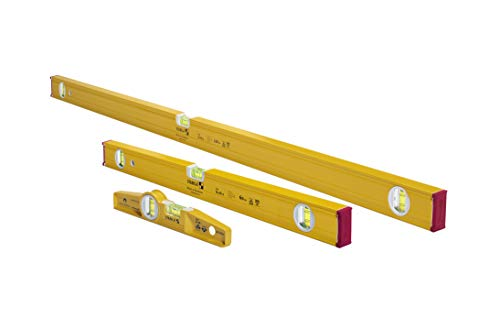 "STABILA 29824 Type 80 AS-2 Spirit Levels Pro Set 24""/48"" and Type 81 SM 10"" Die Cast Magnetic Torpedo, Slim, Stable and Handy Profile For Any Measuring Task,Yellow"