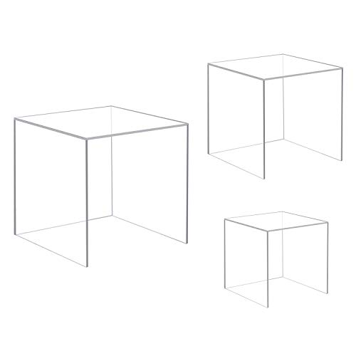 CRUODA Acrylic Display Cubes, 3x3x3&4x4x4&5x5x5 inches, 3pc, Display Boxes, Museum Box Case for Collectibles (4 Sided Acrylic Cube)