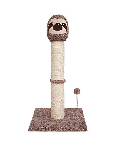 Poils bebe Kratzsäule Kratzbaum Holz, 77cm Katzen Kratzmöbel mit Sisalseil, Faultierform Katzenbaum Stabil für kleine und mittlere Katzen