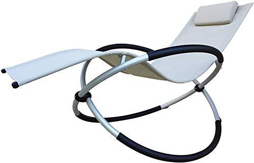 MLI Poltrona Sdraio Beige Rocking Ellittica 96542 Relax da Giardino Lettino Prendisole in Textilene Sedia a Dondolo in Acciaio Metallo da Esterno
