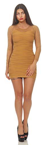 MODAGRAM Damen Kleid Dress Club Party Cocktailkleid Shape Spitzenkleid Langarm Sexy Gr. S/M, L/XL