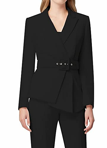 Tahari ASL Women's Belted Asymmetric Pebble Crepe Pant Suit, Black, 14