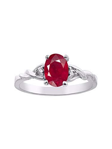 RYLOS Simply Elegant - Anillo de rubí rojo y diamante con piedra natal de julio