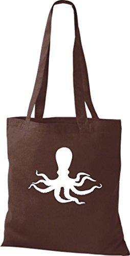 Unbekannt Stoffbeutel; Tiermotiv Krake, Oktopus, Tintenfisch, Kalmare, Meerestier; Farbe Braun