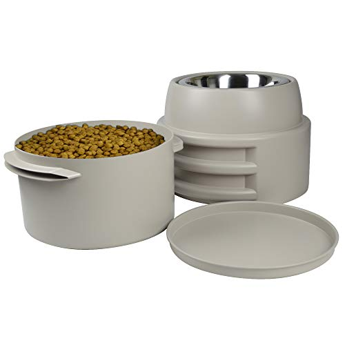 Our Pets Store-N-Feed Adjustable Raised Dog Bowl Feeder & Dog Food Storage Containers (Dog Food Container, Unique Dog Water Bowl, Dog Water Dispenser & Dog Food Bowl), Tan, (Model: 2400013434)