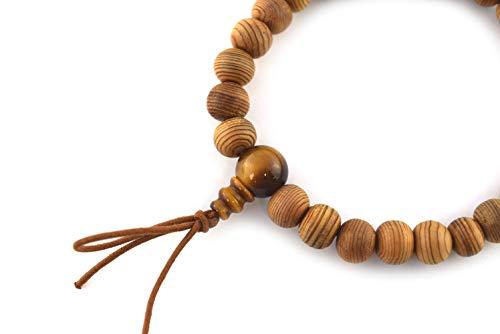 8mm Japanese Cedar Yakusugi Wood & Tiger Eye Beads Bracelet Juzu dhyana Zen Kyoto Prayer Beads Handmade for Men Women Gifts Elastic Mala Beads