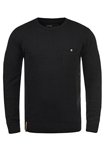 Indicode Demarcus Herren Strickpullover Feinstrick Pullover Mit Rundhals Und Brusttasche, Größe:M, Farbe:Black (999)