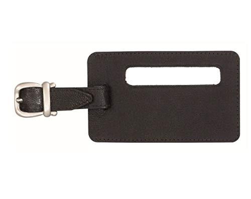 JSA Universal lädertejp väsketikett, bagageetikett med synfält ca 11,5 × 7 cm bagageetikett, 12 cm, svart