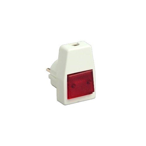 UNITEC 44084L Schuko-Stecker, PVC mit Ausschalter, beleuchtet, weiߟ