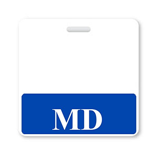 MD Badge Buddy - Heavy Duty Horizontal Badge Buddies for Doctors of Medicine - Spill & Tear Proof Cards - 2 Sided USA Printed Quick Role Identifier ID Tag Backer by Specialist ID