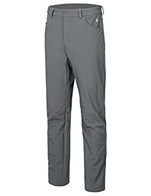 Little Donkey Andy Men's Winter Hiking Ski Snow Pants, Softshell Insulated Pants, Fleece Lined, Water Repellant Gray Size XXL