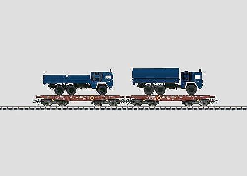 M lin 48718 Flachwagen-Set THW DB AG