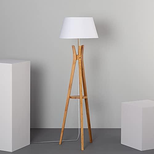 LEDKIA LIGHTING Lampada da Terra Qaanso 1530x460x460 mm Bianco E27 Legno per Sale, Soggiorno, Cucina, Camera