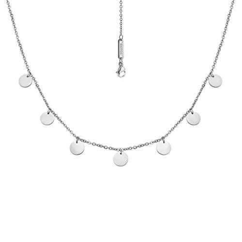 BAFFOS® Plättchen Halskette aus widerstandsfähigem Edelstahl in Farbe Silber für Damen - wundervoller runder Choker Schmuck + Gratis Geschenkverpackung