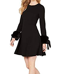 Long Sleeve Fit and Flare Dress with Faux Fur Trim