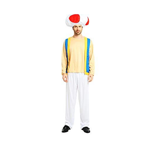 thematys Super Mario Toad Gorra + Pantalones + Camiseta - Disfraz de Adulto Carnaval y Cosplay - Free Size
