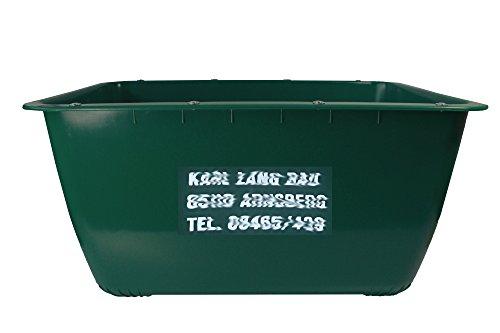 200 Liter 2te-Wahl (mit Fehldruck) Mörtelkübel GRÜN, Mörtelwanne, Blumenkübel, Wasserbehälter, Futtertrog, Wildwanne, Futterwanne mit 2 Stahlschienen zur Verstärkung