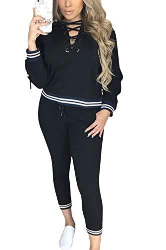 Jogginganzug Damen Zweiteilig Hoodie Herbst Hose Set Und Winter Mode Marken Fashion Lässige Streifen Trainingsanzug Langarm V-Ausschnitt Mit Kreuzgurte Kapuzenpullover Sporthose