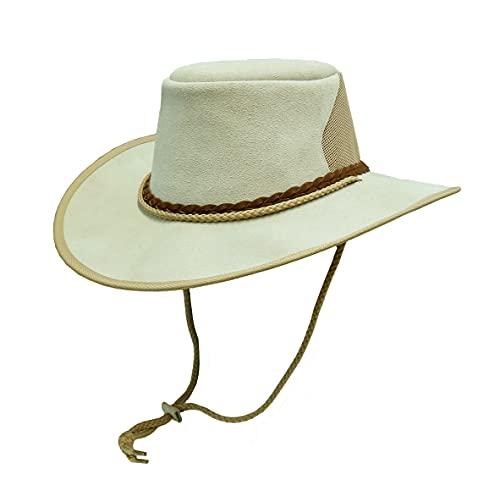 Cappello estivo in camoscio Bourke Breeze Made Kakadu per esterni, con blocco a rete, osso, L