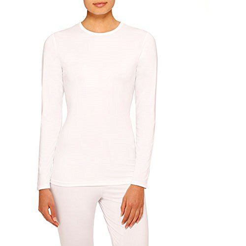 Cuddl Duds ClimateRight Women's Stretch Microfiber Long Sleeve Crew Top(White, X-Large)