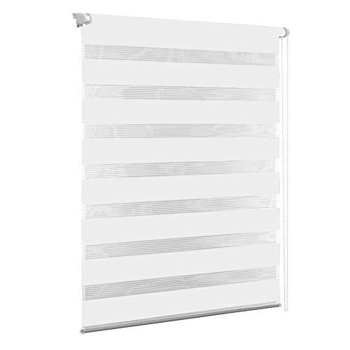 Aufun Doppelrollo Klemmfix ohne Bohren 60 x 120 cm (B x L) Duo Rollos mit Kettenzug für Fenster & Türen, Moderner Sichtschutz, Weiß