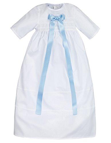Bateo Design Baby Taufkleid aus Baumwolle Simon mit Schleife Hellblau, Weiß, 62