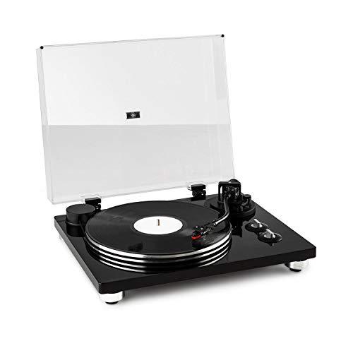 auna Pure Precision Plattenspieler mit Vorverstärker, Black Edition, Schallplattenspieler, Vinyl-Plattenspieler, laufruhiger Riemenantrieb, Aluminium- Plattenteller, 33 1/3 & 45 U/min, schwarz