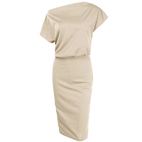 liulangzhe No1 Damen Sommer einfarbig EIN-Schulter-Kragen gedruckt kurzärmelige Taille langes Kleid