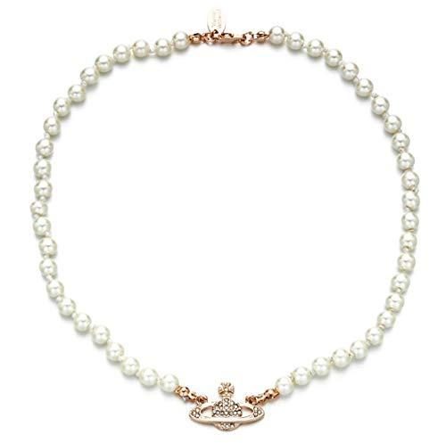 Collar de perlas de Saturno, collares de perlas blancas con diamantes de imitación de cristal Collar de planeta Saturno, plata dorada Collar de perlas de Saturno Collares de niñas de oro