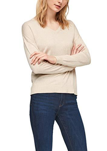 s.Oliver Damen Pullover mit V-Ausschnitt Light beige Melange 38