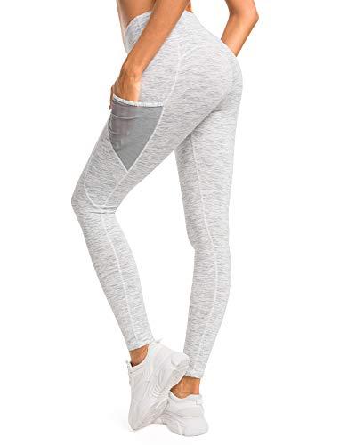 QUEENIEKE Damen Yoga Leggings Mesh Mittlere Taille 3 Handytasche Gym Laufhose Farbe Weiß Space Dye Größe S(4/6)