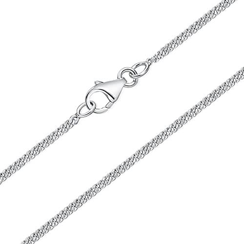 DTPsilver - Cadena de plata fina 925 con eslabones muy finos, cierre de mosquetón, grosor 1,5 mm, longitud: 40, 45, 51, 55, 61 cm,