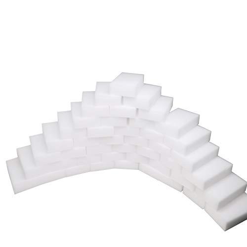 Dr.JIEER 50 Stück Schwamm,radierschwamm,der ideale Reinigungs Schwamm,für alle Arten von Schmutz & Verunreinigungen in Küche, Bad, Möbeln,Türen, Computer-Zubehör geeignet. (10 x 6 x 2cm, Weiß)
