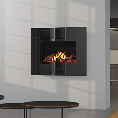 Noble Flame Apollo - Opti-Myst elektrische open haard wandhaard - verwarming afstandsbediening decoratief hout - glazen klep zwart hoogglans - achterwand zwart spiegelend