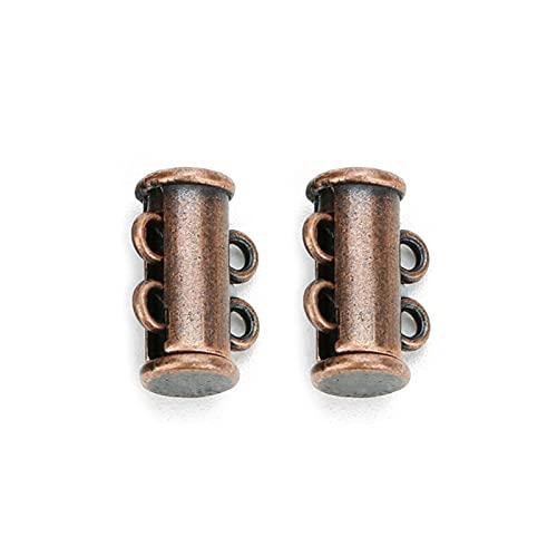 WEIYUE 5 piezas 2 3 4 5 6 8 filas fuertes cierres magnéticos tapas de cierre deslizante hebillas tubos para collar pulsera cadena (color rojo viejo, tamaño: 2 filas)