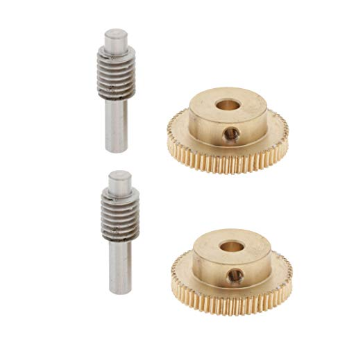 Almencla 2Set Metal Gears 0.5 Modulus Brass Reduction Gears 60T + Steel Gear Shaft