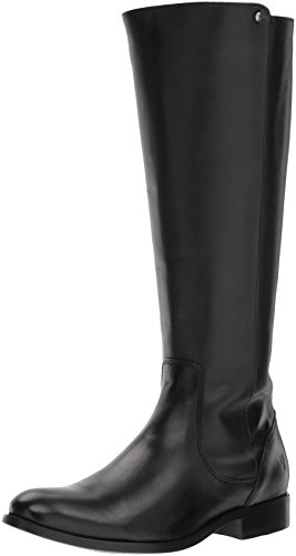 Frye Women's Melissa Stud Back Zip Riding Boot, Black Smooth Vintage Leather, 10 M US