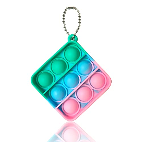 LKMU Mini Pop Push It Fidget Toy Keychain Push Pop Bubble Popping Fidget Sensory Toy Fidget Popper Autism Special Needs Silicone Stress Reliever Toy Anxiety Squeeze Sensory Toy for Kids Adults (H)