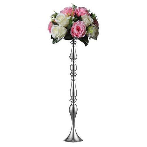Nuptio Silber Metall Säule Kerzenhalter 90cm Höhe, Vasen für Hochzeit Mittelstücke, Party Dinner Event Herzstück Wohnkultur